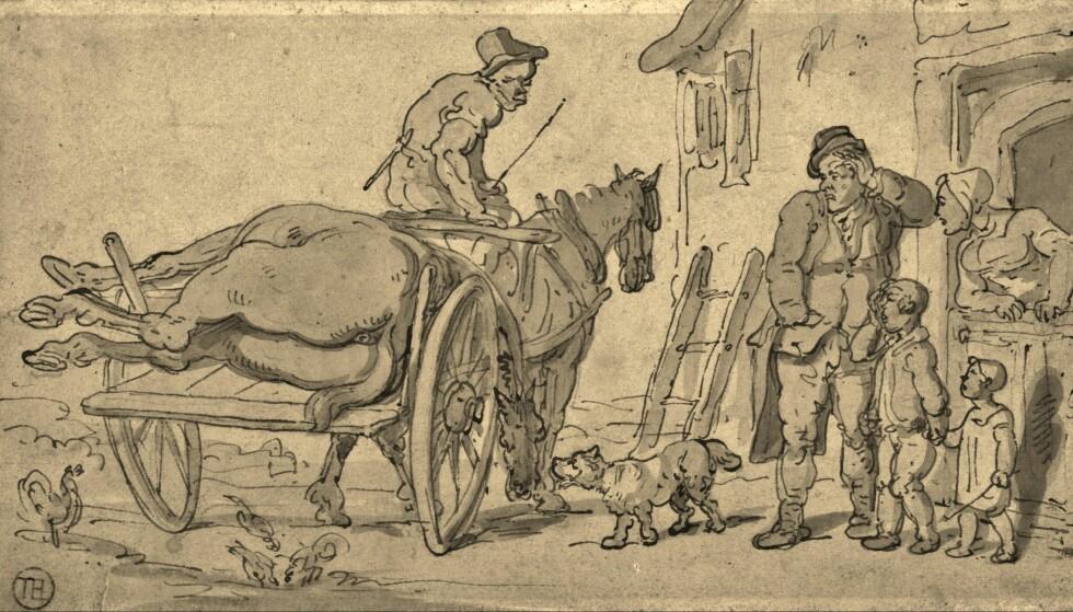 <strong>Utstøtte:</strong> Nattmenn som Siver Svendsen var både fryktet og foraktet av samfunnet. Tegning av Thomas Rowlandson, Wikimedia Commons