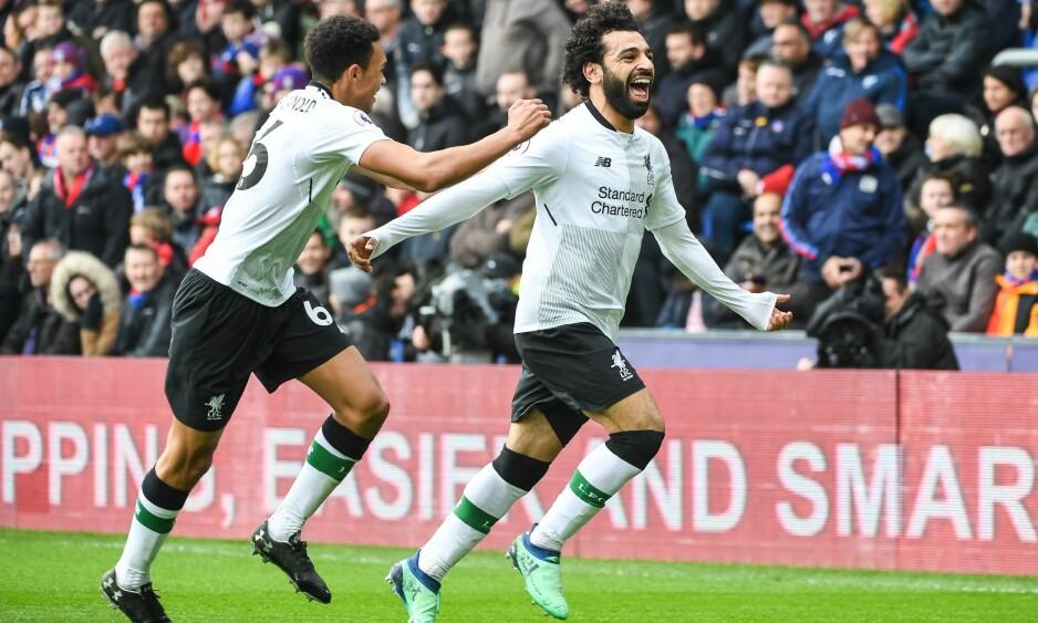 MATCHVINNER: Mohamed Salah jubler for den avgjørende 2-1-scoringen til Liverpool. Foto: NTB scanpix