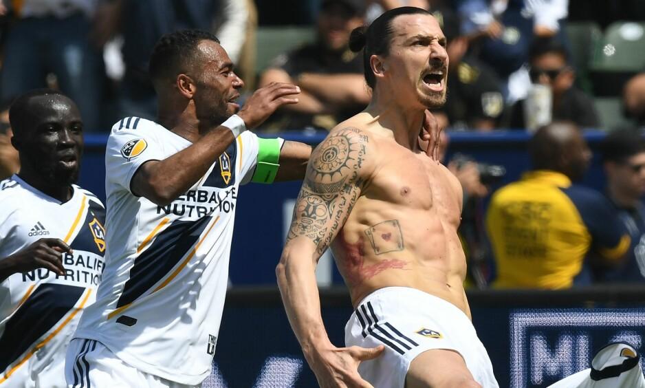 SCORET TO I DEBUTEN: Zlatan Ibrahimovic satte Los Angeles på hodet umiddelbart. Foto: NTB scanpix