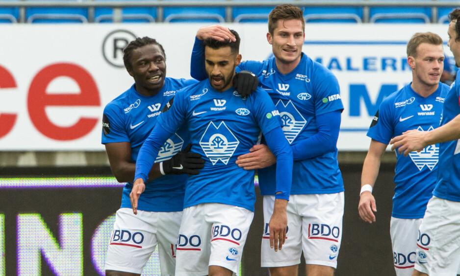 SEIER: Etzaz Hussain scoret to mål for Molde i kampen mot Tromsø. Hjemmelaget vant til slutt 2-1. Foto: NTB scanpix/Svein Ove Ekornesvåg