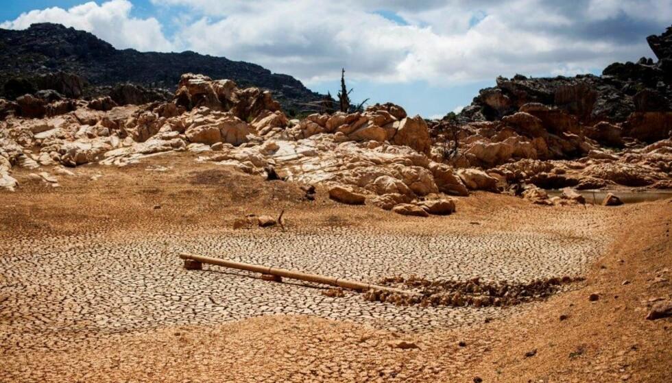 TRE ÅRS TØRKE: Piket Bo-berg nord for Cape Town skulle ha vært en velfylt dam. Slik så den ut for tre uker siden. Foto: NTB Scanpix