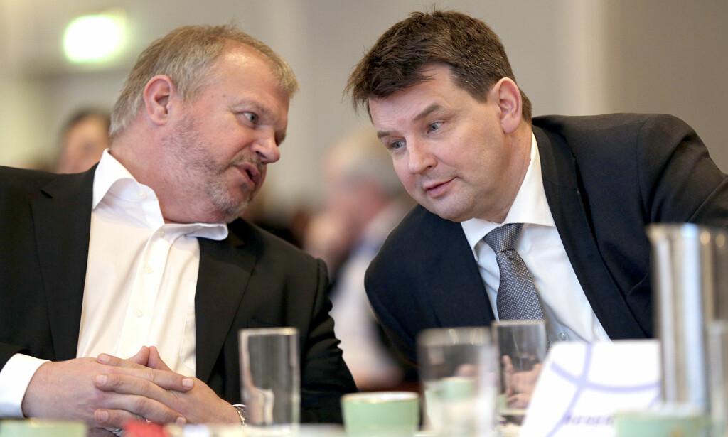 WARA FOR LISTHAUG: Tor Mikkel Wara og Bjarne Håkon Hansen har begge hatt viktige stillinger i First House. Nå blir Wara statsråd. Foto: Vidar Ruud / NTB scanpix