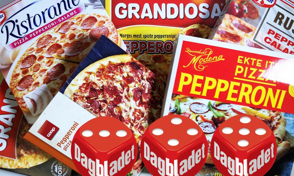PEPPERONIPIZZATEST: Vi har sjekket næringsinnholdet i 10 ulike frossenpizzaer med pepperoni. Foto: Jenny Mina Rødahl