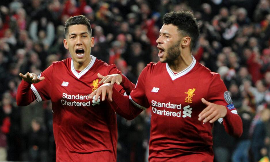 HERJET: Roberto Firmino og Alex Oxlade-Chamberlain var blant Liverpool-spillerne som disket opp med lekkert angrepsspill mot Manchester City onsdag. Foto: DigitalSouthSHM/REX/Shutterstock