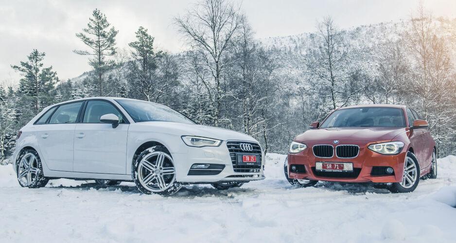 SMÅ OG GØYALE: Audi A3 (t.v) og BMW 1-serie er artige nok til å få deg våken på morgenen, selv om de er ordinære som en kopp kaffe. Alle foto: Kaj Alver