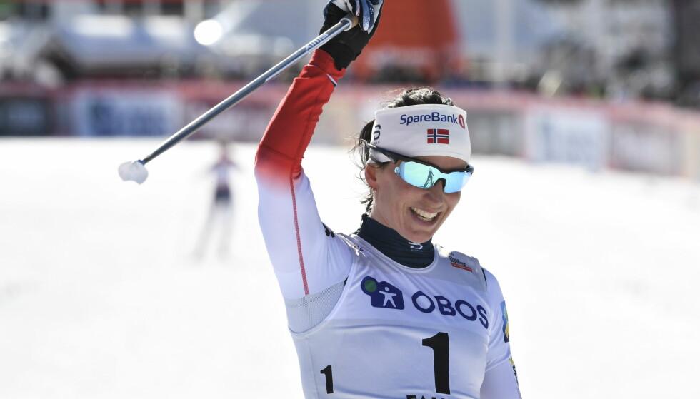 BEST FOR ALLTID: I sporet og utenfor. Marit Bjørgen er den største i norsk idrett. Og selvsagt la hun opp ved å bli norsk mester på 5km. FOTO: Ulf Palm/TT / NTB scanpix