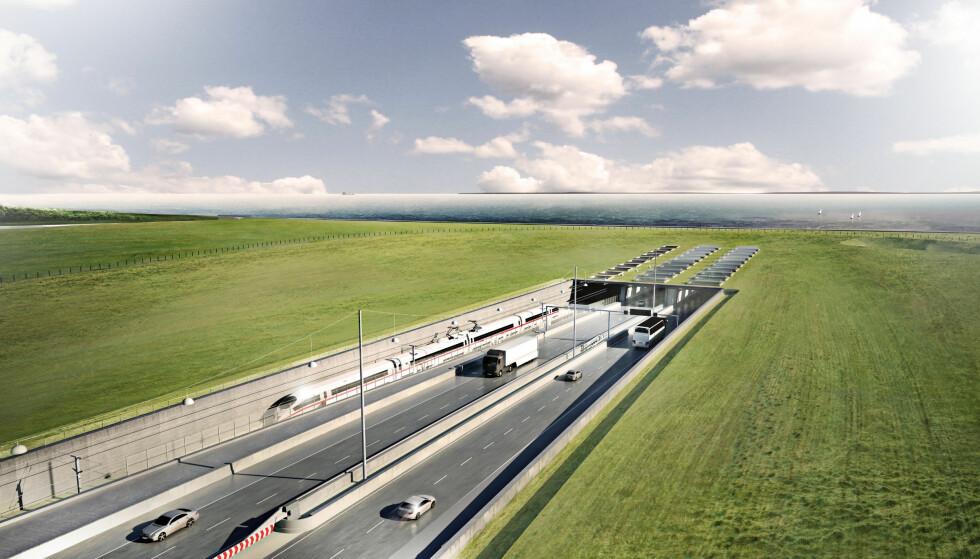 FERDIG i 2028: Tunnelen mellom Danmark og Tyskland vil forkorte reisteiden fra Skandinavia til kontinentet betydelig. Om planene holder, vil den åpne om ti år. Illustrasjon: Femern AS