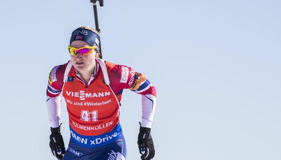Marte Olsbu vant lørdag NM-gull i skiskyting. Bildet er fra jaktstarten i Holmenkollen forrige måned. Foto: Håkon Mosvold Larsen / NTB scanpix