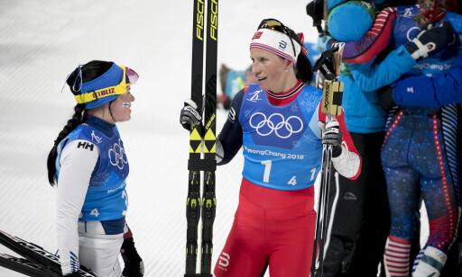 LIKE GODE: Marit Bjørgen og Krista Pärmäkoski gikk nøyaktig like raskt på 10 km fristil i Pyeongchang. Foto: Bjørn Langsem / Dagbladet