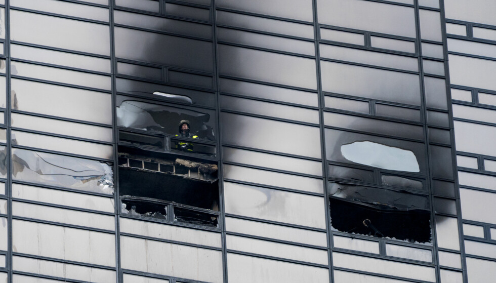 BRANN: Donald Trump takker brannvesenet for at de slukket brannen på Trump Tower. Foto: NTB scanpix