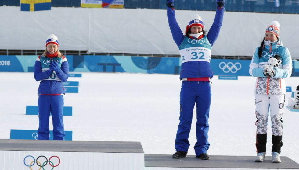 DELTE BRONSEN: Marit Bjørgen og Krista Pärmäkoski delte bronsen i OL i Pyeongchang, men gikk de egentlig like raskt? Foto: Bjørn Langsem / Dagbladet