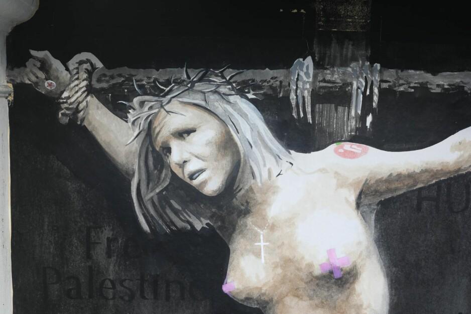 NYE IDEER: Natt til 2. påskedag malte gatekunstneren AFK et veggmaleri av stortingsrepresentant Sylvi Listhaug (Frp) i Bergen. Foto: Emil Weatherhead Breistein / NTB scanpix