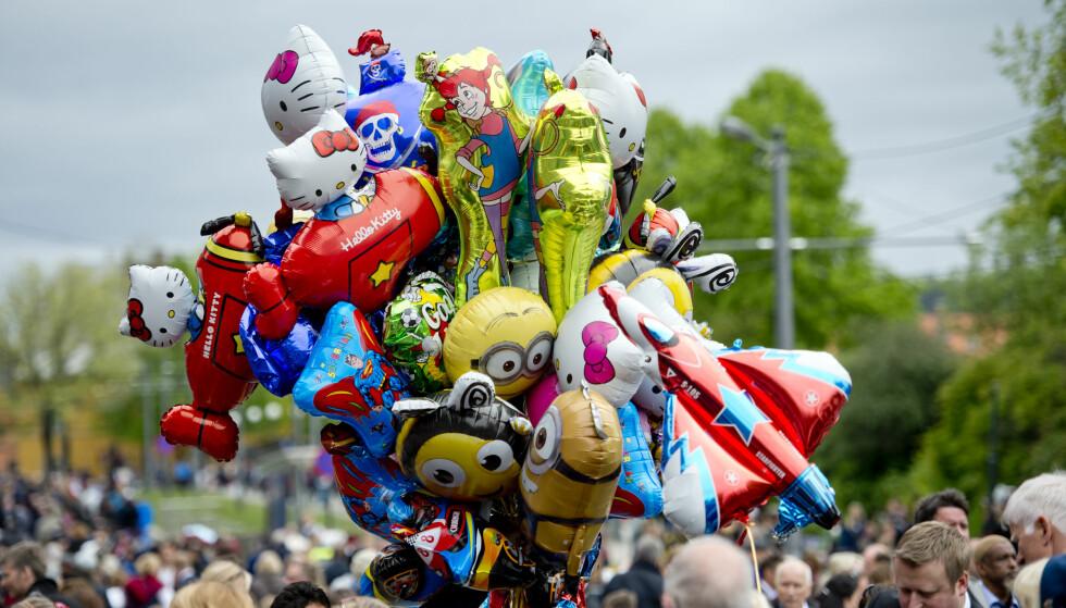 OGSÅ I ÅR?: Heliumballonger på 17. mai i Oslo. Foto: Jon Olav Nesvold / NTB Scanpix