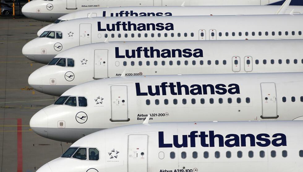 STREIK: Omkring 800 Lufthansa-flygninger er kansellert som følge av streik i tysk offentlig sektor. Foto: Michael Probst / AP / NTB Scanpix