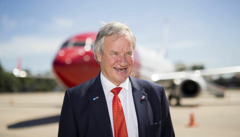 OPPTUR: Norwegian-sjef Bjørn Kjos kan smile brett etter Norwegian Air Shuttles kraftige oppgang på Oslo Børs tirsdag. Foto: Heiko Junge / NTB scanpix