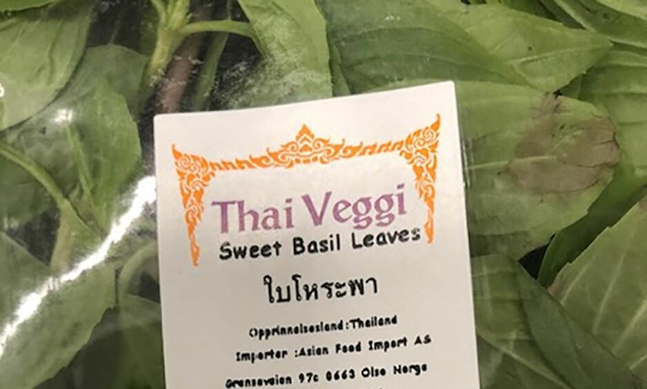 TREKKES: Asian Food Import AS trekker tilbake basilikum fra Thailand på grunn av funn av E. coli. Foto: Mattilsynet / NTB scanpix