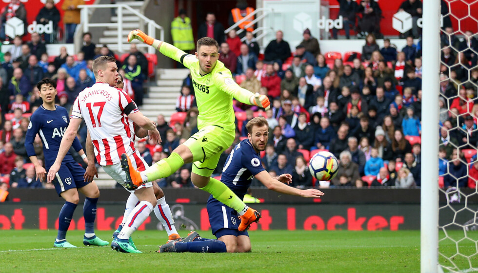 File photo dated 07-04-2018 of Tottenham Hotspur's Harry Kane scoring his side's second goal of the game during the Premier League match at the bet365 Stadium, Stoke.