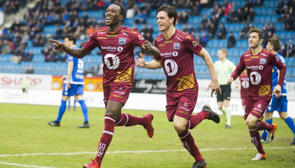 FEIRING: Dauda Bamba ga Kristiansund ledelsen, men til slutt delte lagene poengene. Foto: NTB scanpix / Teigen, Trond Reidar