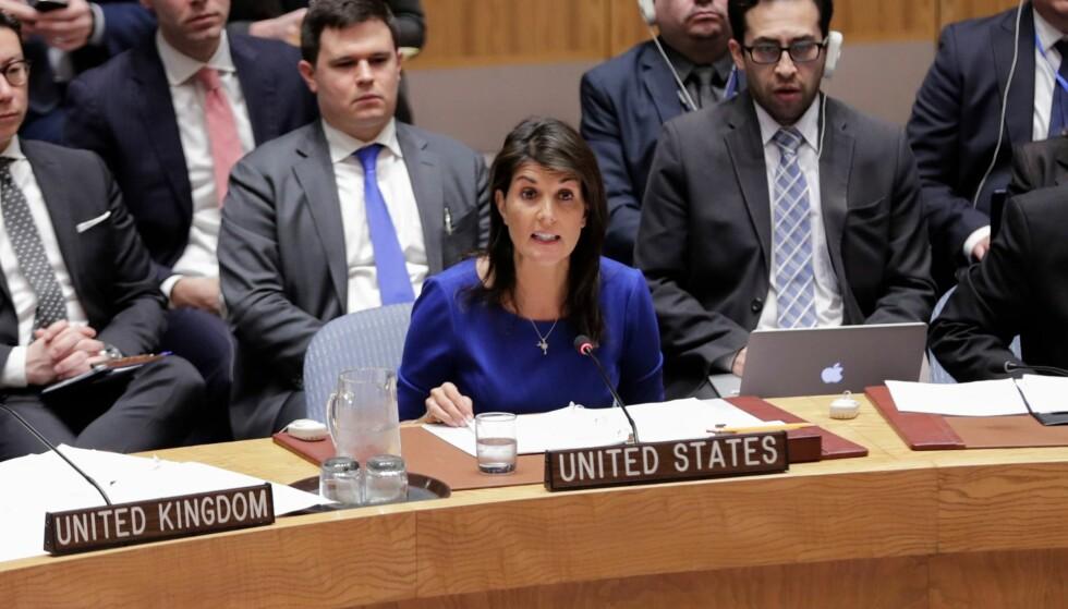UT MOT RUSSLAND: USAs FN-ambassadør Nikki Haley. Foto: Luiz Rampelotto / REX / Shutterstock / NTB Scanpix