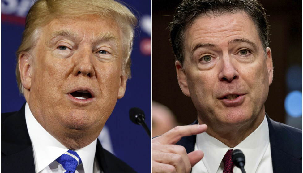 IKKE PÅ GOD FOT: President Donald Trump og tidligere FBI-direktør James Comey har ligget i ordkrig med hverandre siden sistnevnte fikk sparken i fjor vår. Foto: Evan Vucci, Andrew Harnik / AP / NTB Scanpix