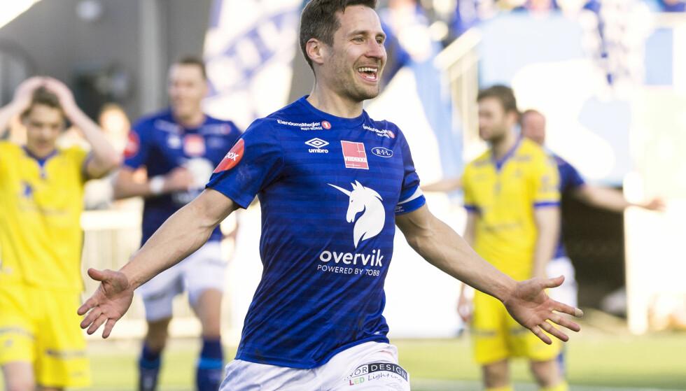HERJET: Mads Reginiussen scoret to mål, i tillegg til én assist, da han sesongdebuterte for Ranheim i Eliteserien i 4-2-seieren over Haugesund. Foto: Ned Alley / NTB scanpix