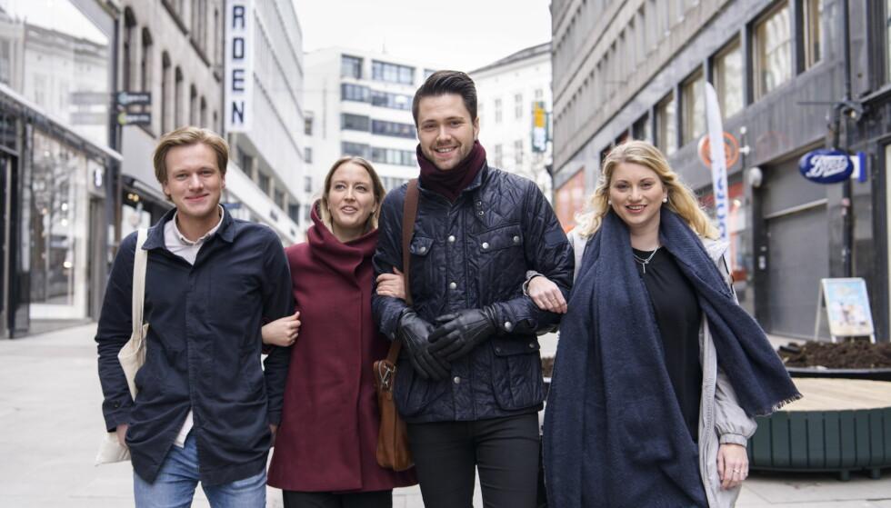 FRAMTIDA: Ungdomspartienes ledere utfordrer moderpartiene om framtida til velferdsstaten. - Begynn med å redusere sykelønna til 80 prosent fra første dag, sier fra venstre: Sondre Hansmark (Unge Venstre), Sandra Bruflot (Unge Høyre), Bjørn-Kristian Svendsrud (FpU) og Martine Tønnessen (KrFU). Foto: Lars Eivind Bones / Dagbladet