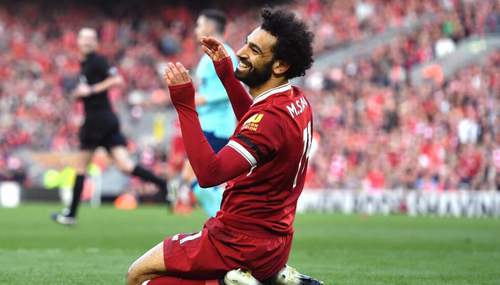 Liverpools Mohamed Salah under en Premier League-kamp på Anfield. Foto: NTB SCANPIX
