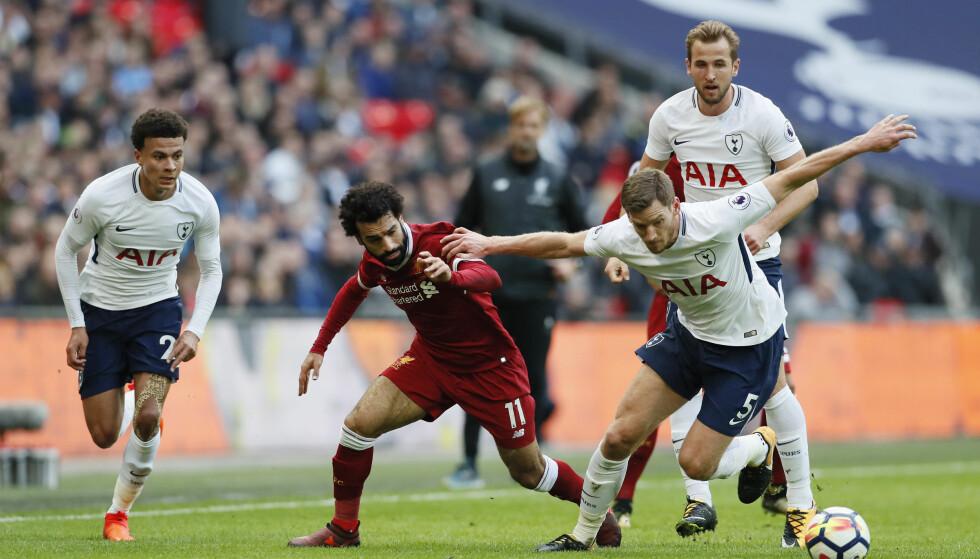 PÅ ÅRETS LAG: Jan Vertoghen, Harry Kane og Mohamed Salah har fått plass. Det har ikke Dele Alli. Foto: David Klein/Sportimage via PA Images/NTB Scanpix