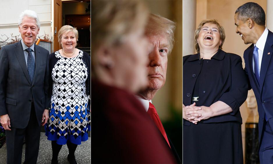 ALLE STATSMINISTERENS PRESIDENTER: Erna Solberg avbildet f.v. sammen med USAs tidligere president Bill Clinton i dag, Donald Trump i januar i år, og Barack Obama i 2016. Foto: NTB Scanpix / AP