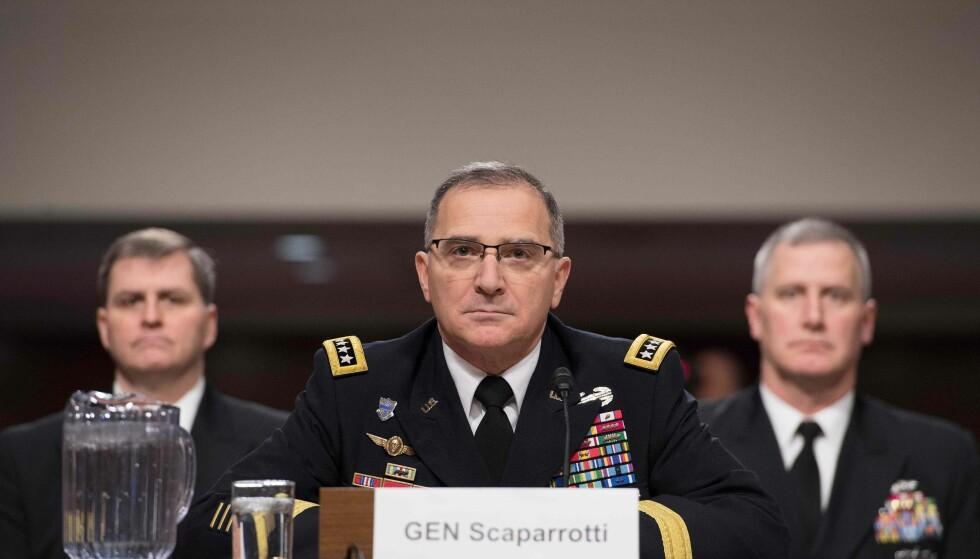 NATOS ØVERSTE MILITÆRE SJEF: Curtis Scaparrotti, her under en høring foran det amerikanske senatets Armed Services- komité i år. Foto: AFP PHOTO / NTB scanpix