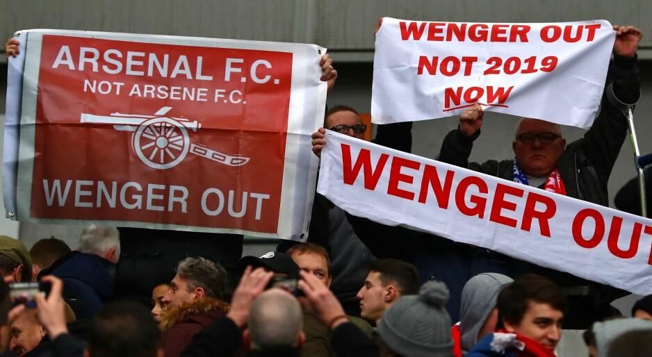 IKKE ØNSKET: Deler av Arsenal-fansen ville bli kvitt Arsène Wenger. Foto: Kieran McManus/BPI/REX/Shutterstock/NTB Scanpix