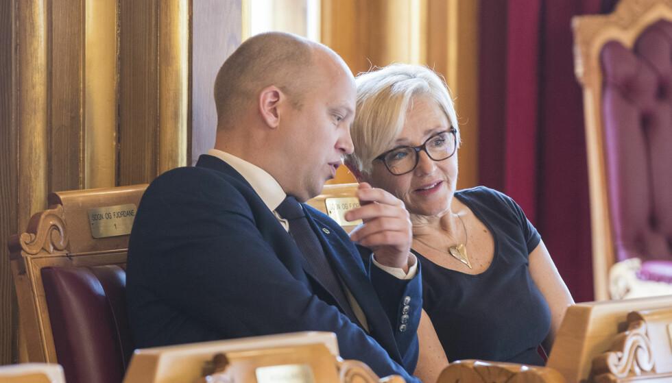 TRAKASSERT: Sp-leder Trygve Slagsvold Vedum har fulgt sentralstyrets anbefaling og levert inn politianmeldelse etter sex-trakasseringen av Liv Signe Navarsete. Foto: Vidar Ruud / NTB scanpix