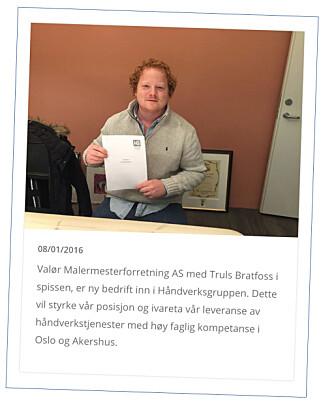 PROMOTERTE VALØR AS: Truls Bratfoss 8. januar 2016. Samtidig ble han politianmeldt for økonomisk utroskap av sin tidligere arbeidsgiver. Faksimile: Håndverksgruppen