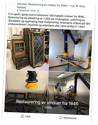 SKRYT PÅ FACEBOOK: Valør AS postet en rekke bilder av arbeidene de gjorde for Slottet. Foto: Privat