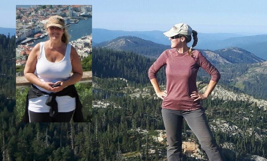 TOK BEINA FATT: Lise Viken (46) tok grep, ble kvitt ekstrakiloene og er blitt ei skikkelig fjellgeit. På det innfeldte bildet har hun nettopp slitt seg over Vidden og er på Fløyen i Bergen. På det største bildet, er hun blitt betraktelig lettere og skuer utover Sierra Nevada-fjellene i California. Foto: Privat