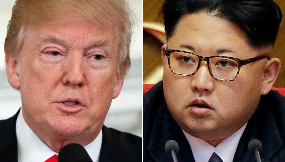 NÆRMER SEG HVERANDRE: Donald Trump og Kim Jong-un. Foto: Evan Vucci, Wong Maye-e / AP / NTB Scanpix
