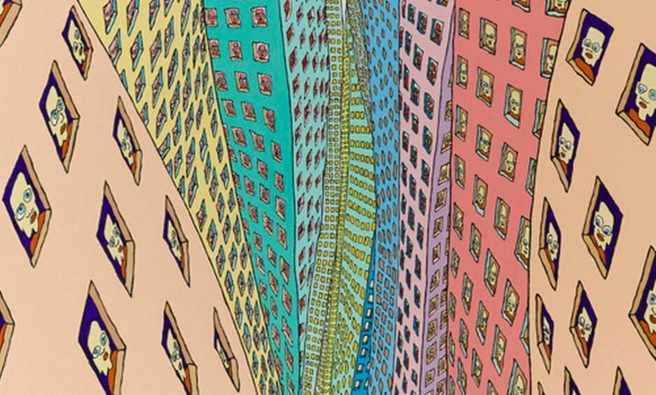 <strong>VERTIGO:</strong> Mange mener at skikkelsen i vinduene på verket «Vertigo 23» forestiller Hariton Pushwagner selv, ettersom Terje «Pushwagner» Brofos som barn skadet seg og satt og så på barna som lekte utenfor gjennom et vindu. Om skikkelsen virkelig er ham, er ikke bekreftet eller fastslått. Foto: Galleri Pushwagner