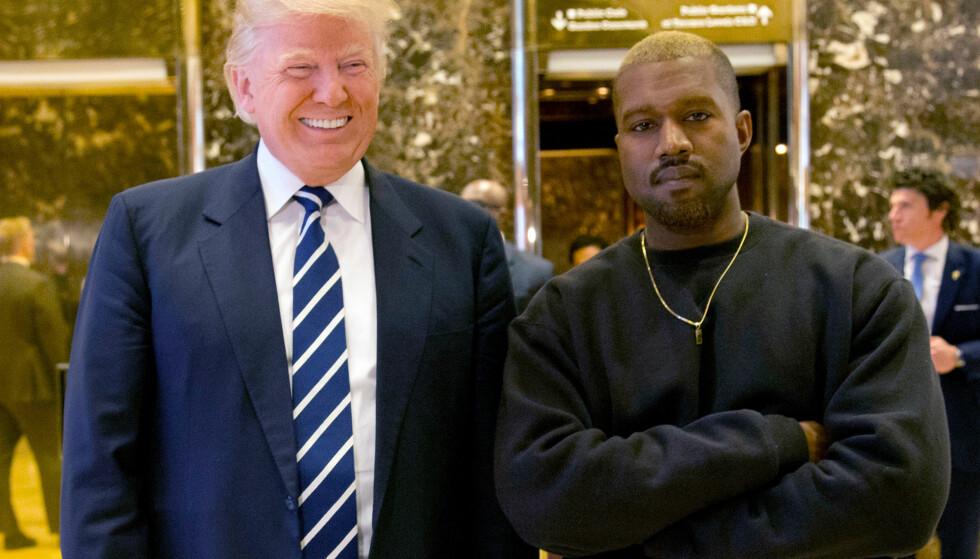 Drageenergi: I natt skrev Kanye West (t.h) at både han og Donald Trump har drageenergi. Han beskrev dem også som brødre. Foto: NTB Scanpix