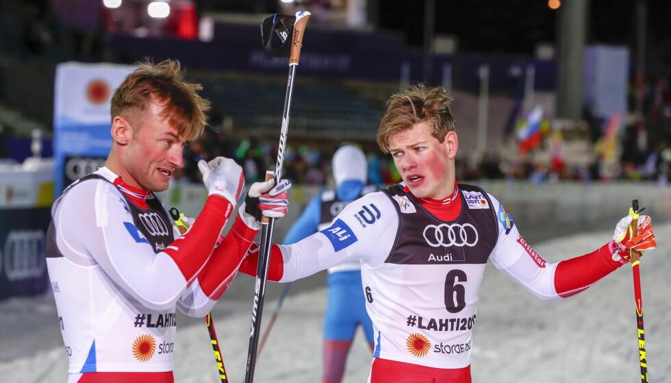 STØRRE SJANSER: Skiathlon kan likevel bli stående som egen konkurranse. Det gir en klar fordel for typer som Petter Northug og Johannes Høsflot Klæbo FOTO: Terje Pedersen / NTB scanpix