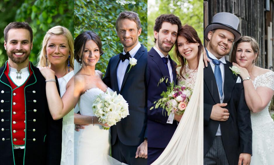 MANGE SKJEBNER: Dette er fire av de totalt 12 parene som har vært med i den omdiskuterte tv-serien «Gift ved første blikk». For noen har forholdet holdt, mens andre har gått hver til sitt. Foto: TVNorge