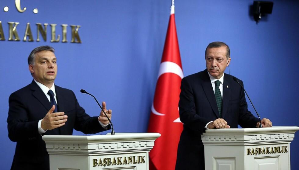 AUTORITÆRE TREKK: Menneskerettskrisen handler også om angrepene på retten til å ytre seg. Og det kryper nærmere: Både i Tyrkia, Ungarn og Polen er det tydelige autoritære utviklingstrekk, skriver artikkelforfatteren. På bildet er Ungarns statsminister Viktor Orban sammen med Tyrkias president Recep Tayyip Erdogan. Foto: AFP photo / NTB scanpix