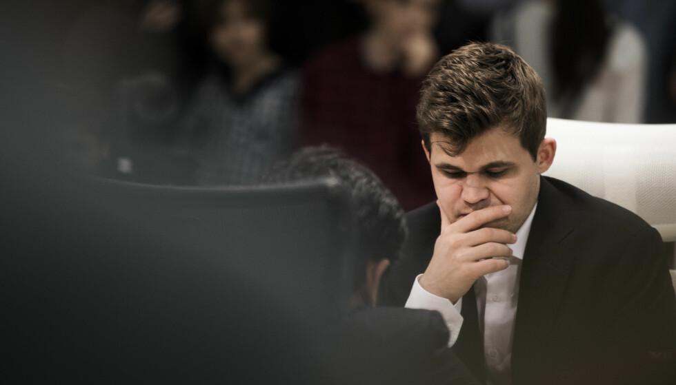 SEIER: Magnus Carlsen styrer mot seier i Shamkir Chess-turneringen. Her et bilde fra i vinter. Foto: Berit Roald / NTB scanpix.