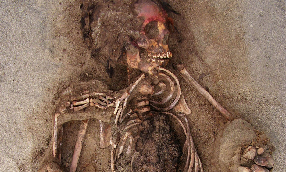 MAKABERT FUNN: Arkeologer i Peru har trolig gjort funn av verdens største barneofring. Her er et bilde fra 2011, fra en av de første utgravingene i området. Foto: Gabriel Prieto / National Geographic / NTB Scanpix