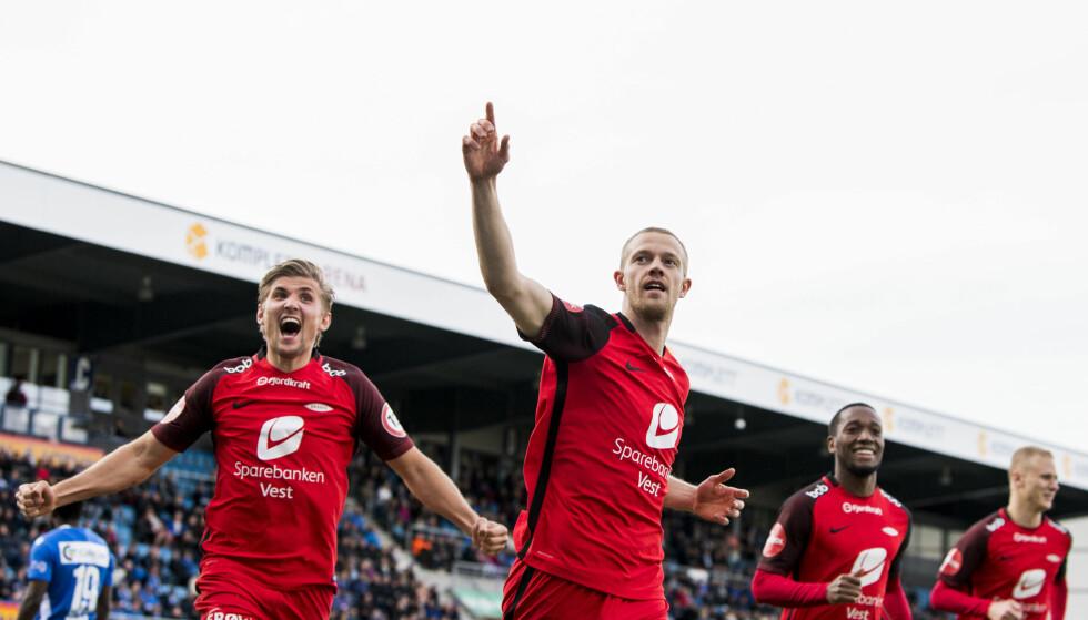HELT: Peter Orry Larsen har ikke hatt noen drømmestart på Brann-karrieren, men i dag scoret han målet som ga Brann tre nye poeng. Foto: Bildbyrån