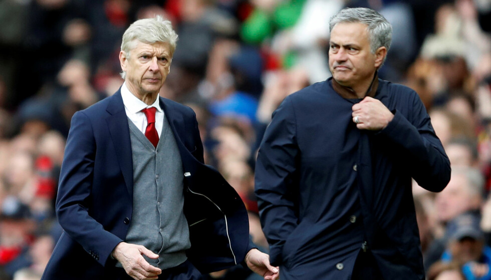 VIL GJØRE SOM RIVALEN: Jose Mourinho (høyre) drømmer om å sitte like lenge i en klubb som Arsene Wenger har gjort. Foto: Reuters/Carl Recine