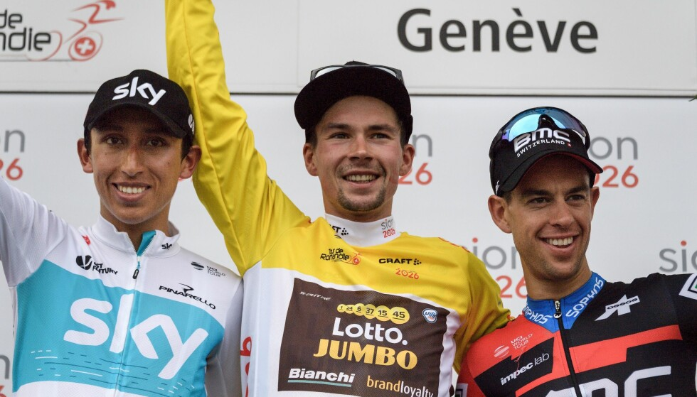 INNFRIDDE: Richie Porte (til høyre) tok tredjeplassen i Romandiet, men måtte innrømme etterpå at han er bekymret over den uavklarte situasjonen rundt BMC Racing Team. FOTO: / AFP PHOTO / Fabrice COFFRINI