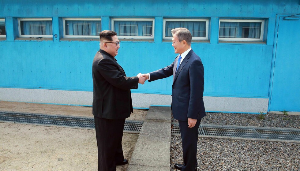 Historisk møte: Det var historisk da Kim Jong-un og Moon Jae-in møttes. Foto: NTB Scanpix