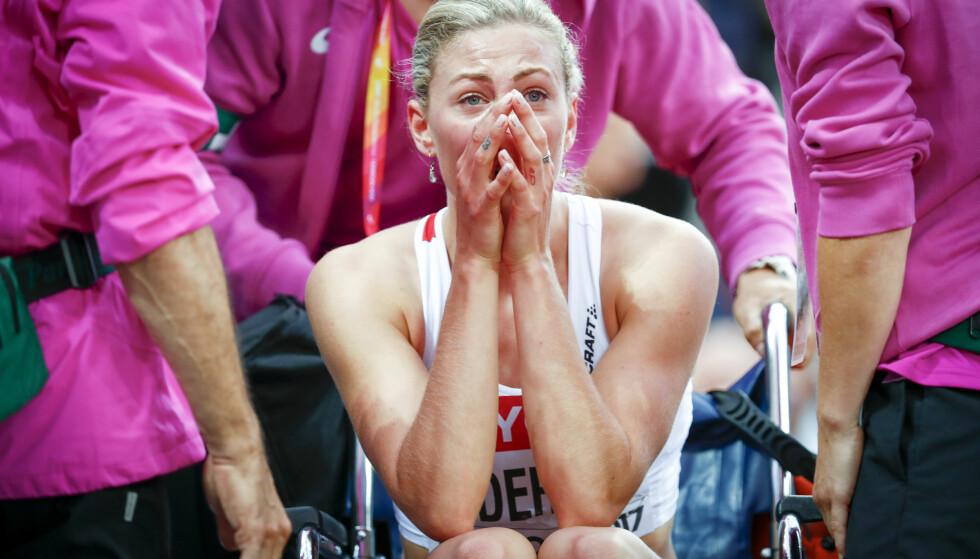 TRIST: Isabelle Pedersen skadet seg i 100 meter hekk semifinalen under friidretts-VM i fjor. Det har gitt motivasjon i treningsarbeidet Foto: Heiko Junge / NTB scanpix