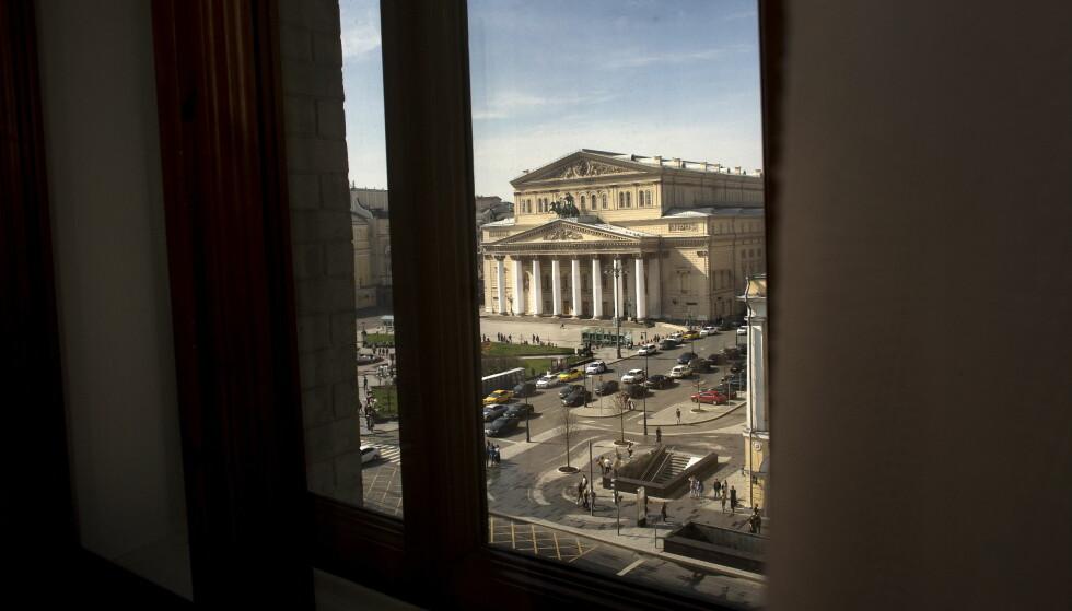 UTSIKT: Frode Berg hadde utsikt til det verdensberømte Bolsjojteateret fra rommet på Hotel Metropol i Moskva. Da han gikk ut fra hotellet fredag 5. desember i fjor, ble mannen fra Kirkenes arrestert og siktet for spionasje mot Russland.