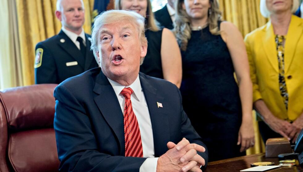 KAN BLI STEVNET: Donald Trump kan bli stevnet inn for storjuryen. Det skal i alle fall spesialetterforsker Robert Mueller ha sagt under et møte i mars. Foto: REX / Shutterstock / NTB scanpix